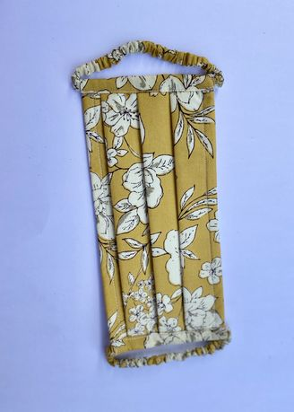 Yellow color Masks . Yellow Floral Cotton Face Mask with Fabric Covered Earloops -