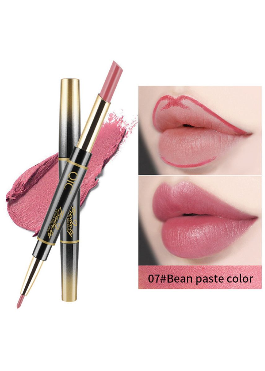ชมพู color ริมฝีปาก . Non-stick Lipstick and Lip Liner Dual Use- 7#Bean Paste Color -