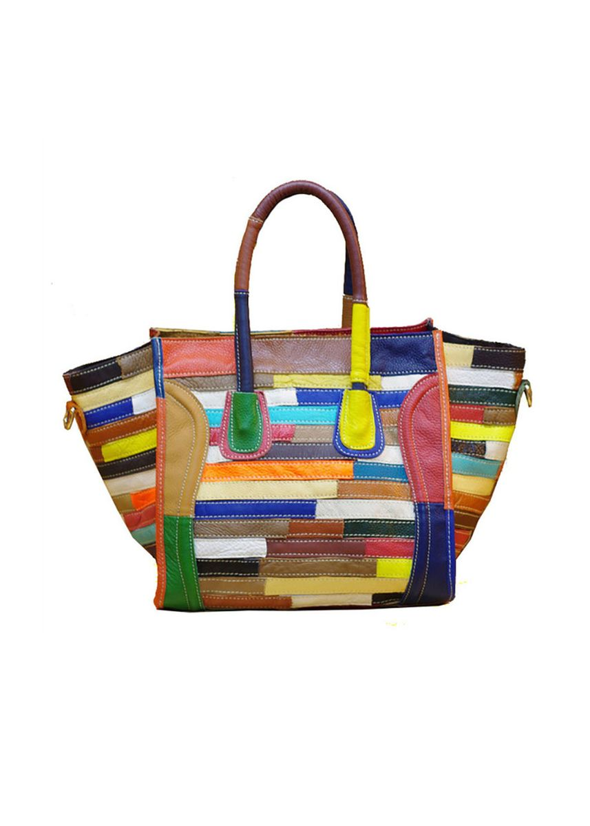 Multi color Hand Bags . Designer Classic Smiley Women's Leather Tote Bag -