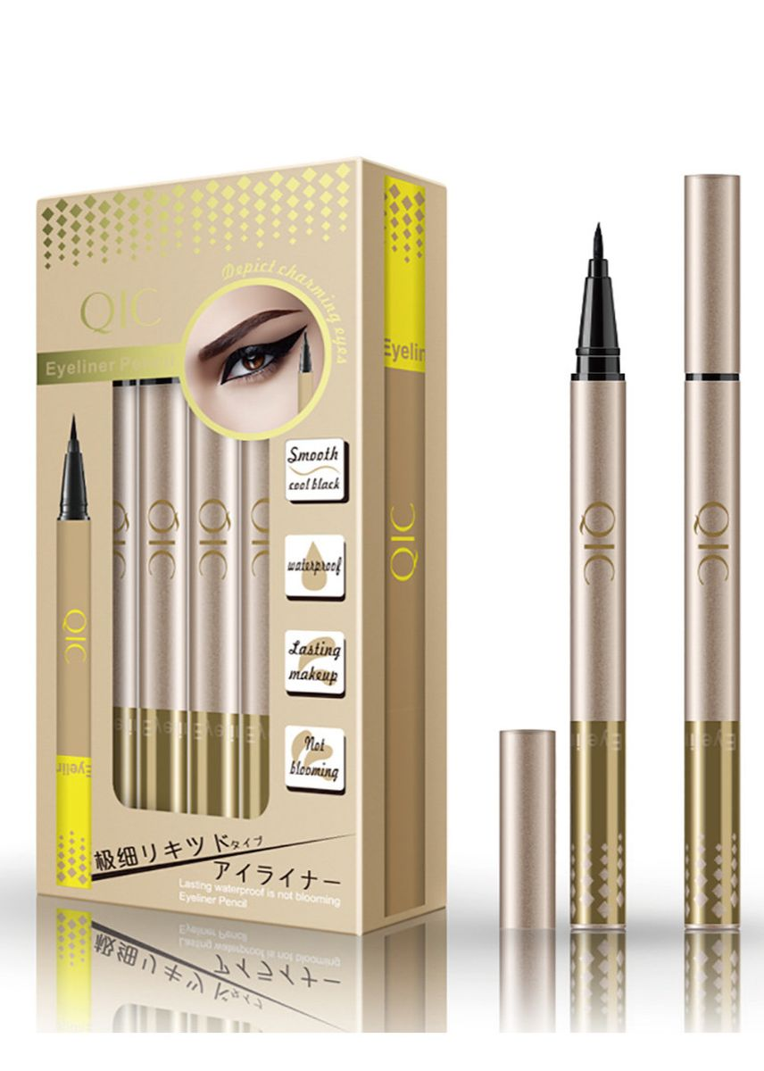 Gold color Eyes . 12pcs Set Eyeliner Quick-drying, Waterproof and Sweat Proof -