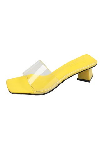 Yellow color Sandals and Slippers . Women Summer Outside Transparent Crystal Sandals -