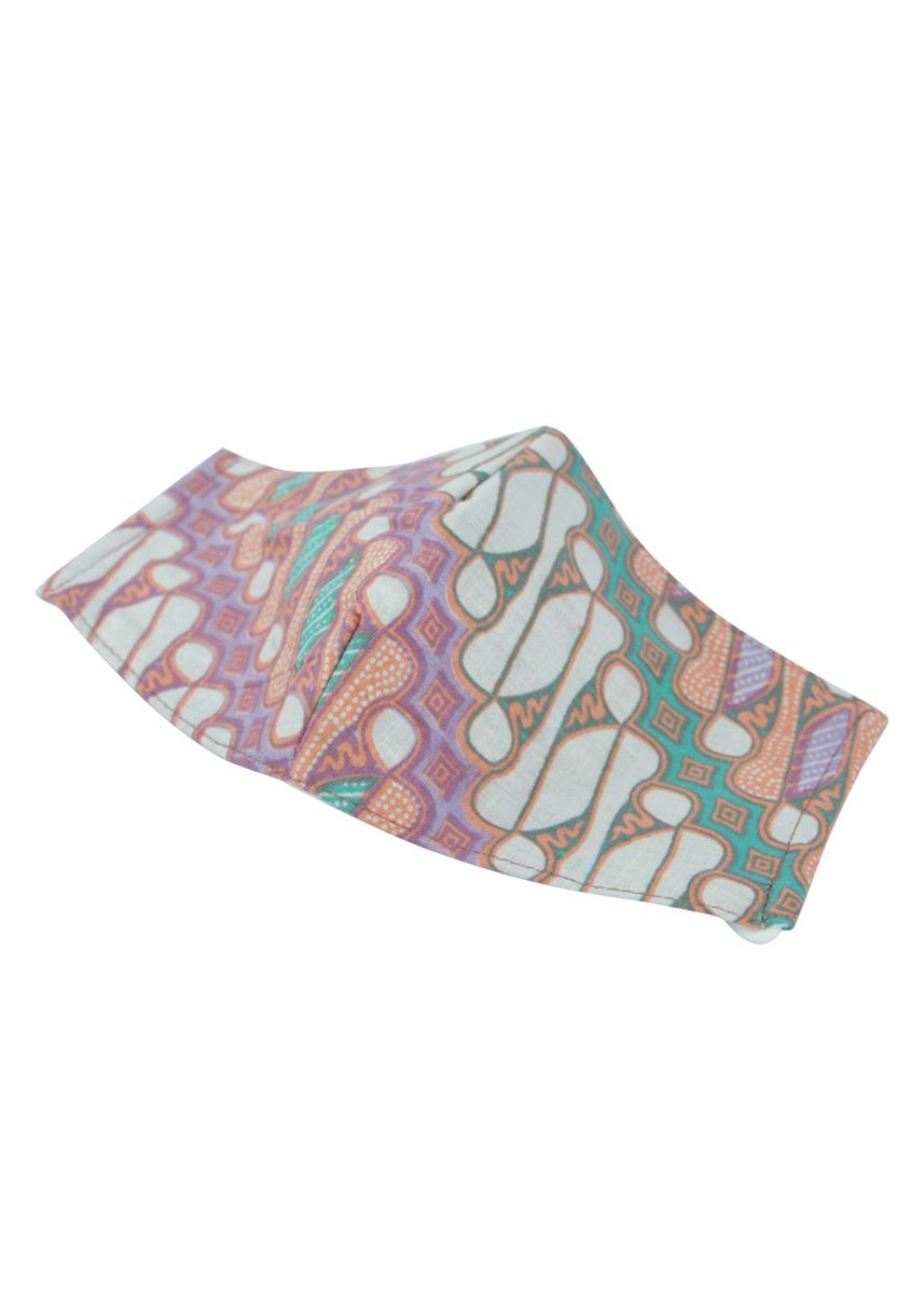Purple color Masks . MAYONETTE Hijab Masker Batik Kain Katun Premium 3 PLY Headloop Dewasa Non-medis - high Quality - 3 pcs -