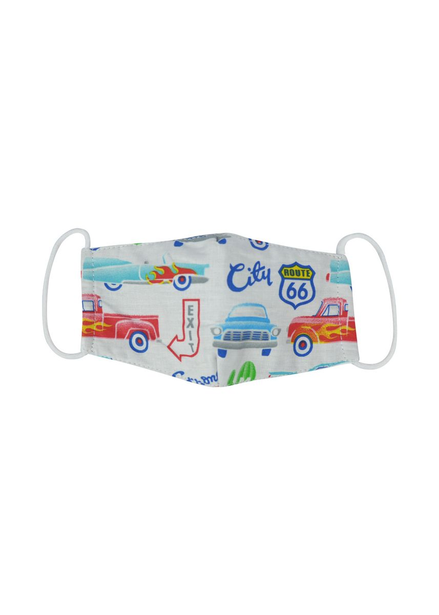 Putih color Masker . MAYONETTE Kiddo Motif Masker Duckbill 3 Ply Kain Katun Premium - Car Boy - Nonmedis - Earloop - 6 pcs -