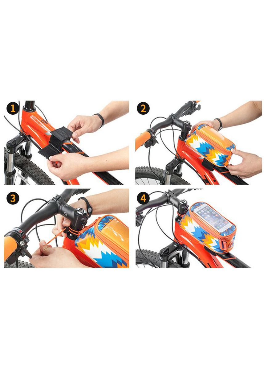 Orange color Bike Accessories . Tas Sepeda Roswheel Holder HP Waterproof Frame Atas [5.7 INCH] -