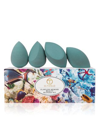 Cyan color Tools . 4 Pcs Wet and Dry Flocking Puff Set -