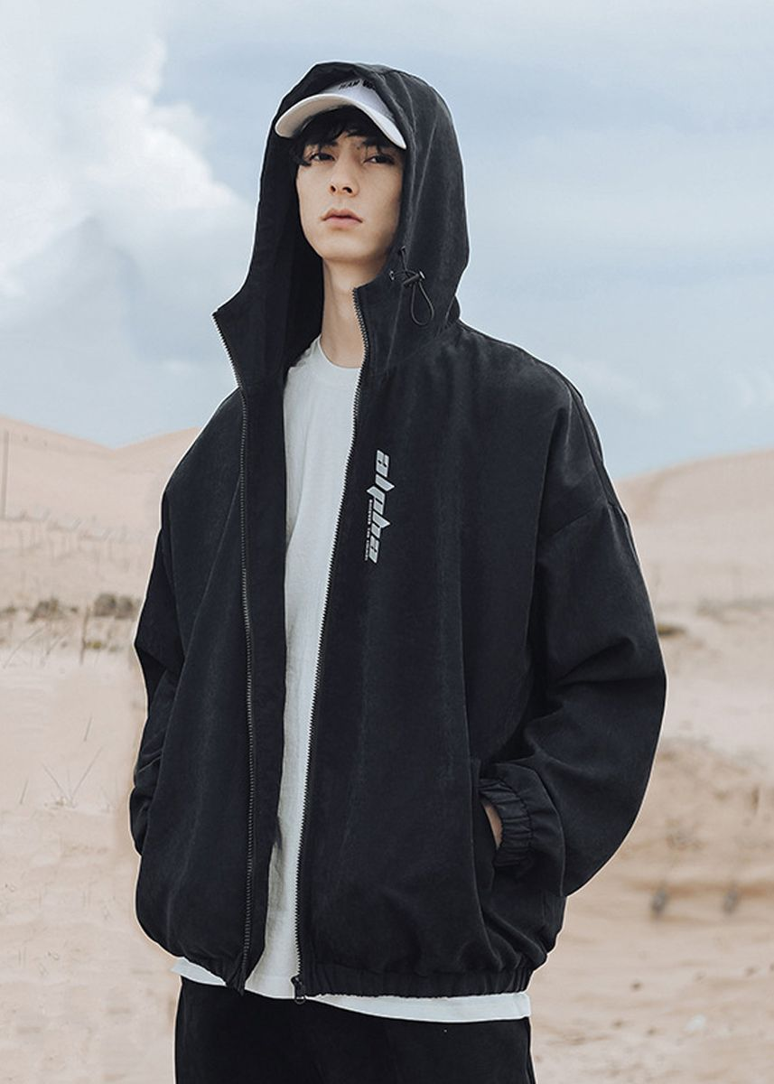 Black color Jackets . Fashion Solid Men's Hooded Zipper Casual Jacket -