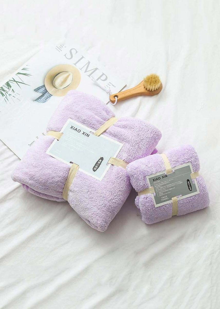 สีม่วง color ผ้าขนหนู . High-density Fleece Bath & Face Towel 2 Pcs Set -