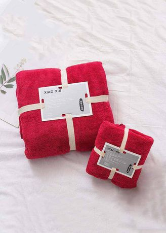 แดง color ผ้าขนหนู . High-density Fleece Bath & Face Towel 2 Pcs Set -