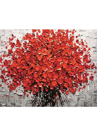 Red color Home Decor . DIY Oil Painting Red Flower Canvas Prints -