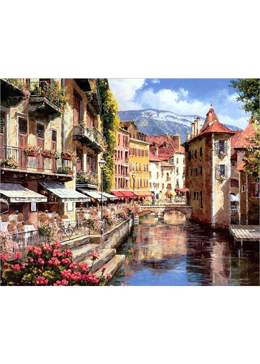 Multi color Home Decor . DIY Waterside Town Canvas Oil Painting -