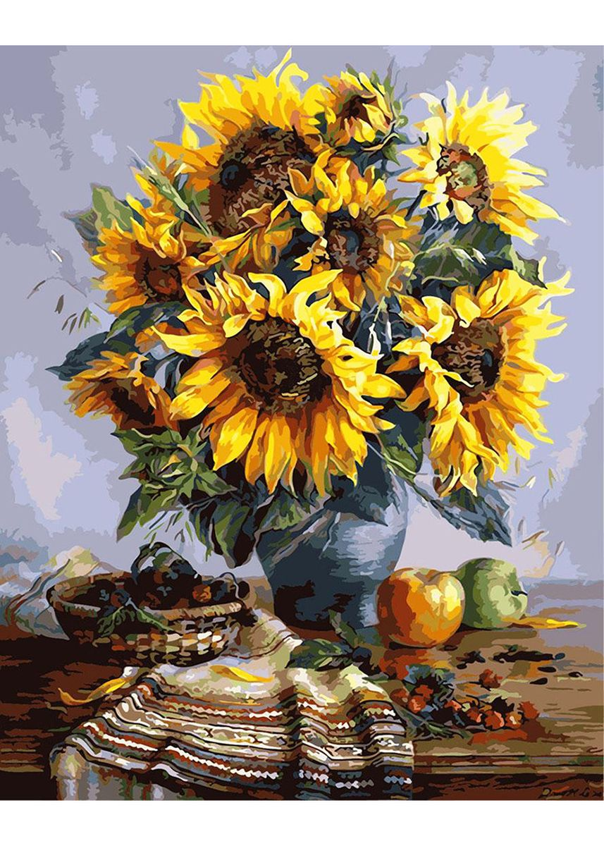 Multi color Home Decor . DIY Sunflower Blooming Canvas Floral Oil Painting -