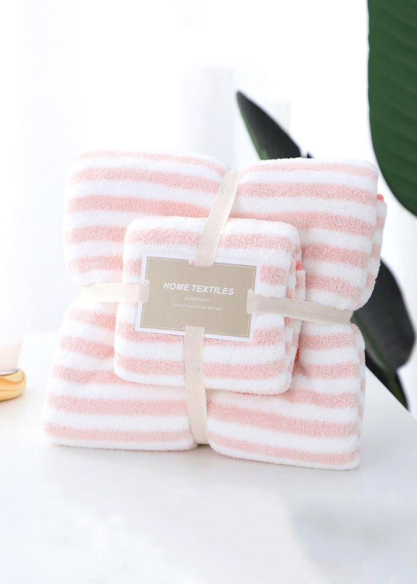 ชมพู color ผ้าขนหนู . Striped Pattern Face & Bath Towel 2Pcs Set -