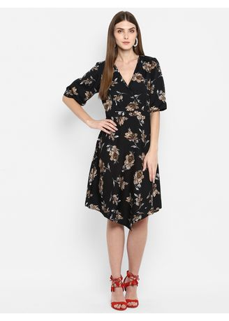 Multi color Dresses . Floral Print V-Neck A-line Dress -
