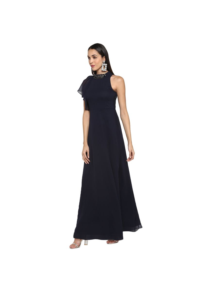 Navy color Dresses . Navy Blue Long dress with Neck piece -