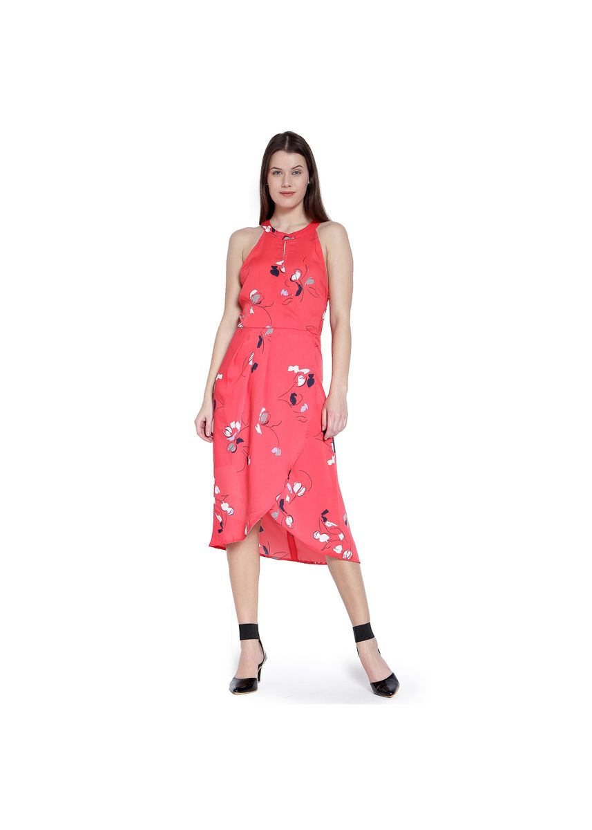 Red color Dresses . printed red wrap dress -