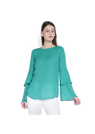 Green color Tops and Tunics . Green Bell sleeve top -