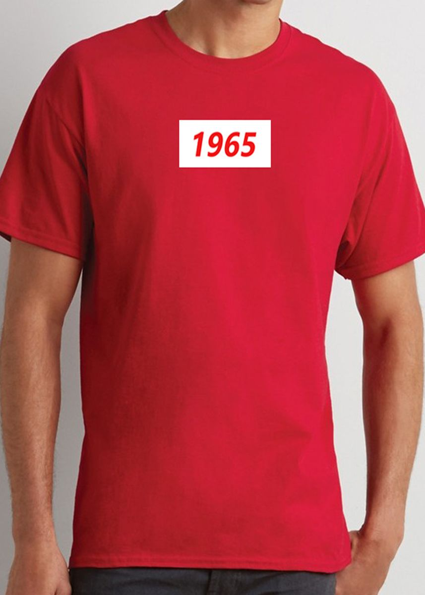 Red color  . Year Printed Men's Red T-shirt -