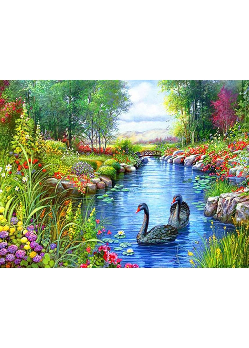 มัลติ color ตกแต่งบ้าน . DIY 5D Plastic Diamond Painting Black Swan Lake Paint -