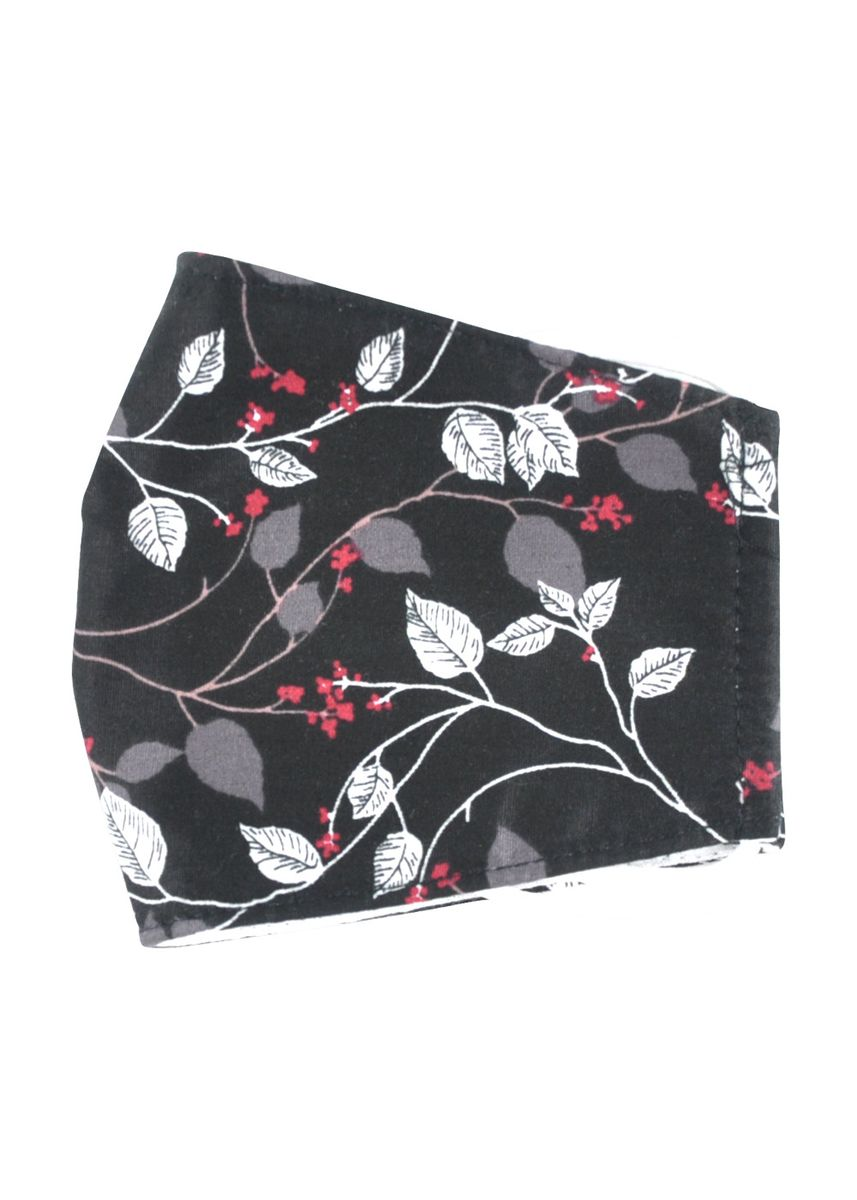 Black color Masks . MAYONETTE Hijab Floral Leaf Masker Kain Katun Premium 3 Ply Dewasa Nonmedis - High Quality - 3 pcs -