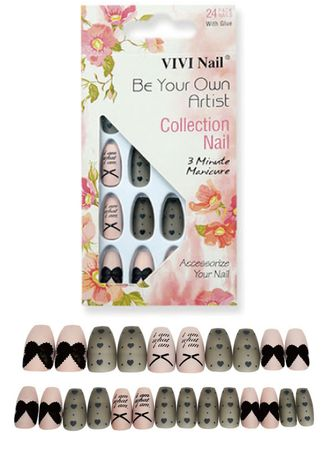 Multi color Nails . 24 Pieces Frosted Ballet Pointed Color Printing Nail Set - 0059-13 -