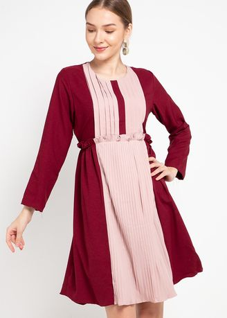 Red color Dresses . PURICIA DRESS CAOTUN -