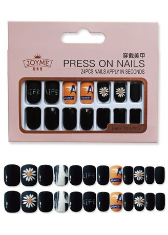 Multi color Nails . 24pcs Boxed Jelly Glue Small Daisy Nail Patch -