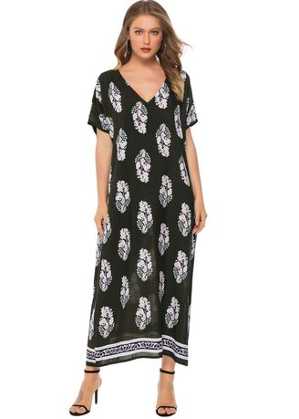 Dresses . South American Style Printed Casual V-Neck Long Dress -