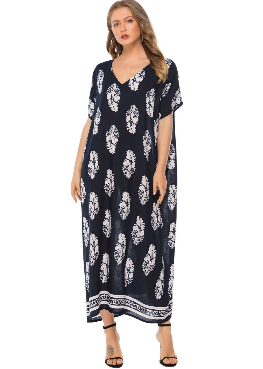 Navy color Dresses . South American Style Printed Casual V-Neck Long Dress -