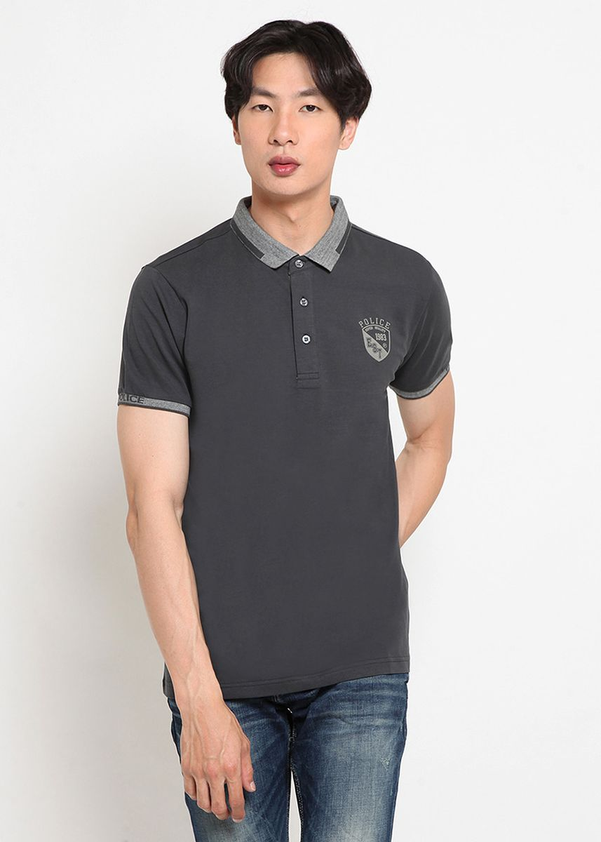 Abu-Abu color Kaus Oblong & Polo . POLICE Polo Shirt Cotton Spandeks Premium Pria -