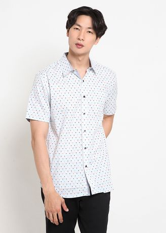 White color Casual Shirts . POLICE Kemeja Printing Slim Fit Pria  -