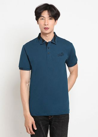 Blue color T-Shirts and Polos . POLICE Polo Shirt Cotton Spandeks Premium Pria  -