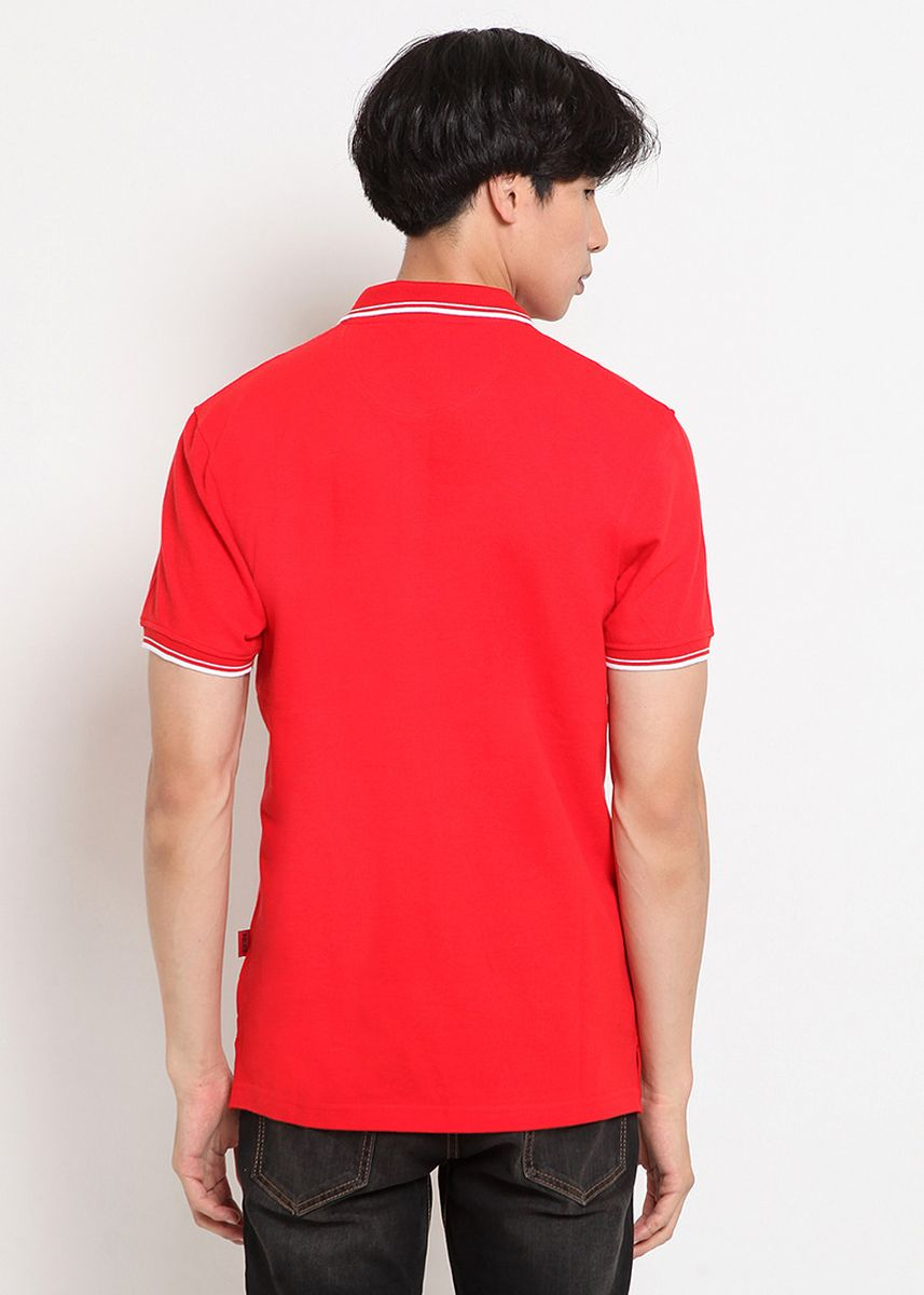 Merah color Kaus Oblong & Polo . POLICE Polo Shirt Pria  -