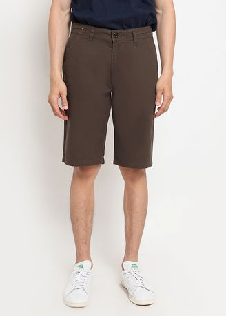 Brown color Shorts & 3/4ths . POLICE Celana Chinos Regular Fit Pria -