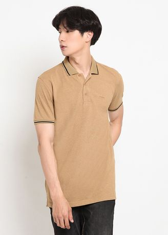 Brown color T-Shirts and Polos . POLICE Polo Shirt Krah Shiro Pria -