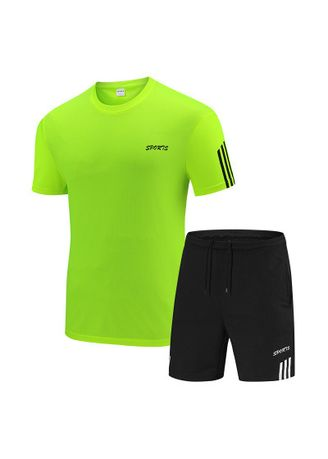 Green color Sports Wear . Men's Breathable Casual Shorts Sport Suit -