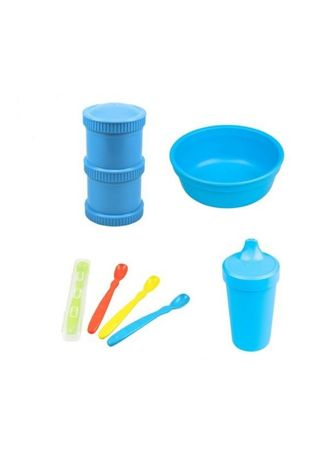 Blue color Others . Re-Play Recycled Deluxe Baby Feeding Food Starter Set BPA BPS Free -