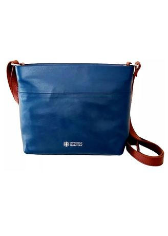 Navy color Sling Bags . Victorian Territory - Cow Calf Leather Bag - Almada -