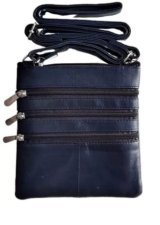Navy color Messenger Bags . Victorian Territory - Full Grain Leather Crossbody Unisex- Style 1027 -