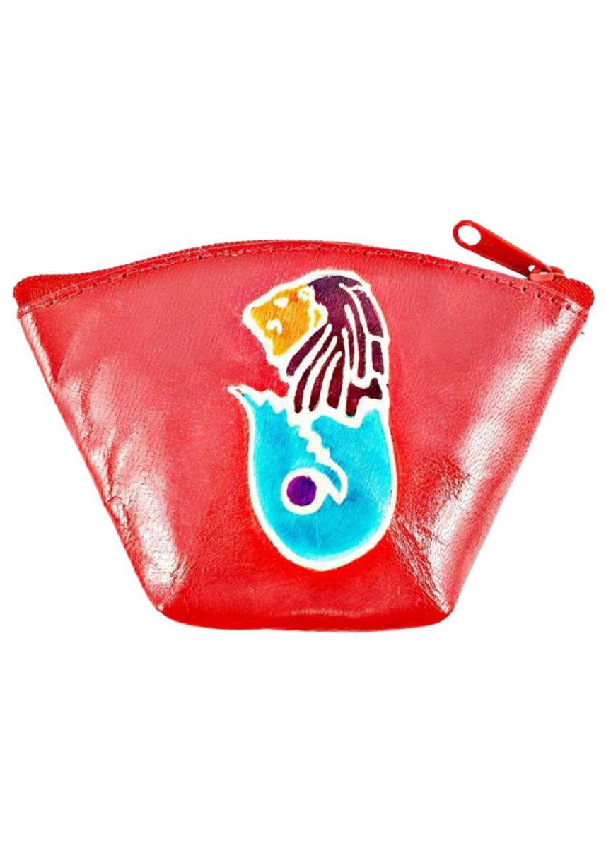 Red color Wallets . Hand Painted Real Leather Coin Pouch - Merlion -