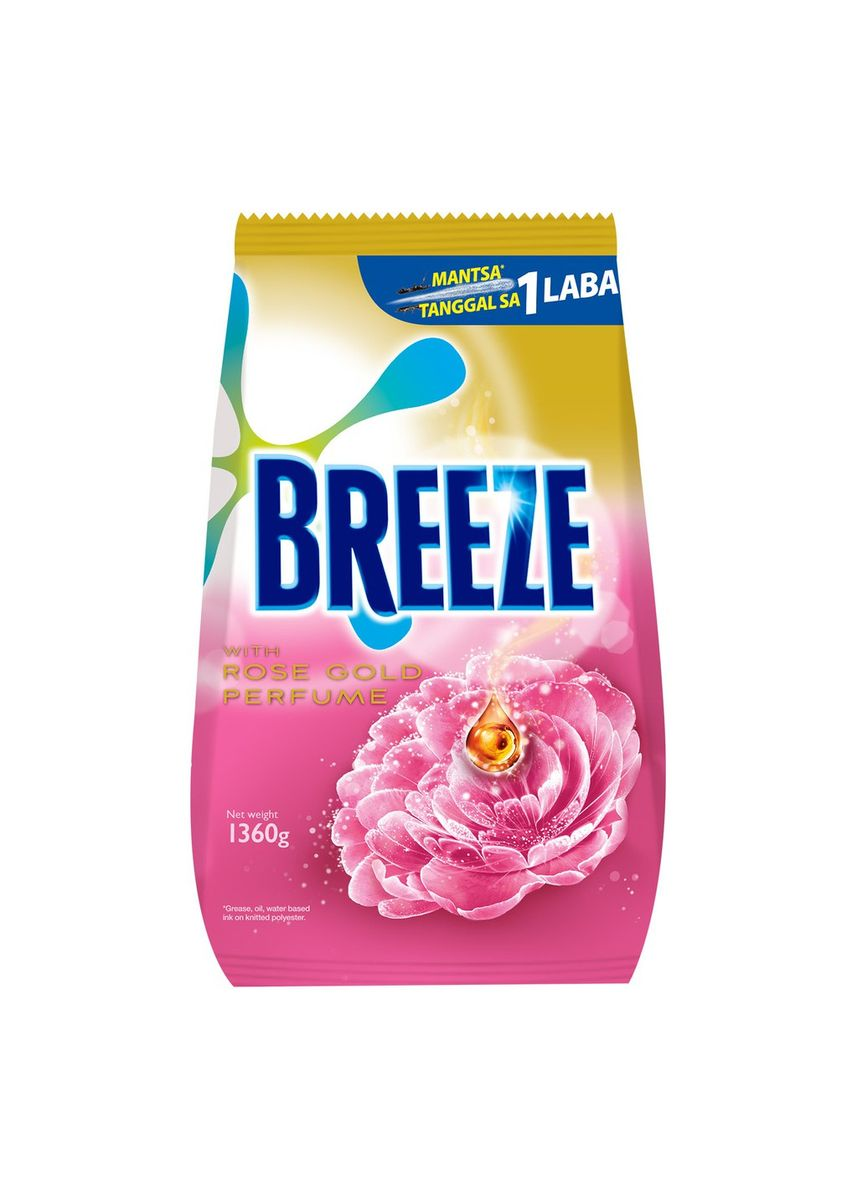 No Color color Laundry . Breeze Powder Detergent With Rose Gold Perfume 1.36kg Pouch -