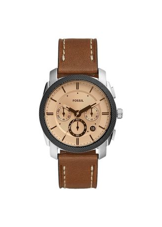 Black color Analog . Jam Tangan Fossil FS5620 Machine Chronograph Silver Dial Brown Leather Strap -