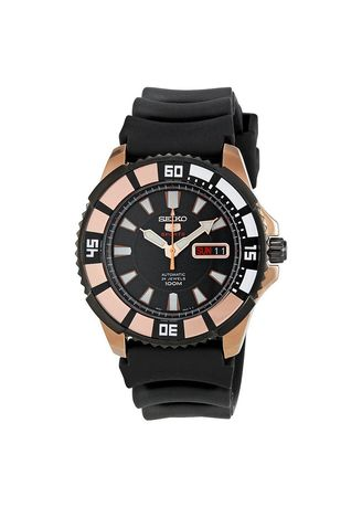 Emas color Jam Analog . Jam Tangan Seiko 5 Sports SRP210K1 Automatic Black Dial Stainless Steel Case Rubber Strap -