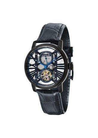 Black color Analog . Jam Tangan Thomas Earnshaw ES-8095-05 Westminster Automatic Open Heart Dial Black Leather Strap -