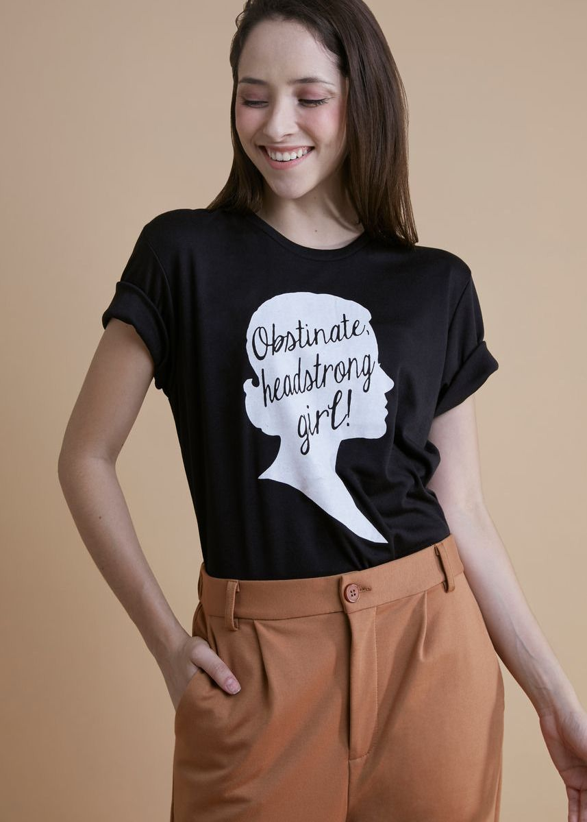 Black color Tees & Shirts . Strong Girl Top Tee -