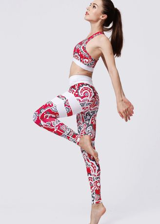 Multi color Sports Wear . Ladies Printed Quick-drying Sports Bra and Leggings Set  - Red -
