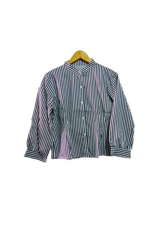 Putih color Atasan & Tunik . Luna Blouse Stripe -