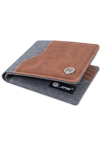 Grey color Wallets . JFR Fashion Dompet Pria Bahan Kulit Canvas JP43 Strand Series -