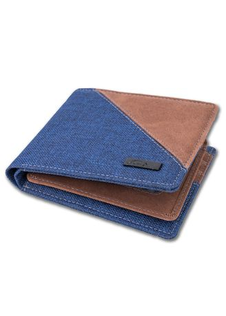 Blue color Wallets . JFR Fashion Dompet Pria Bahan Kulit Canvas JP44 Bibury Series -