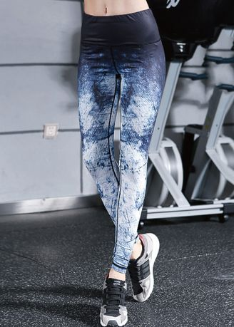 Navy color Sports Wear . Ladies Quick-drying Yoga Dance Fitness Stepping Tights -