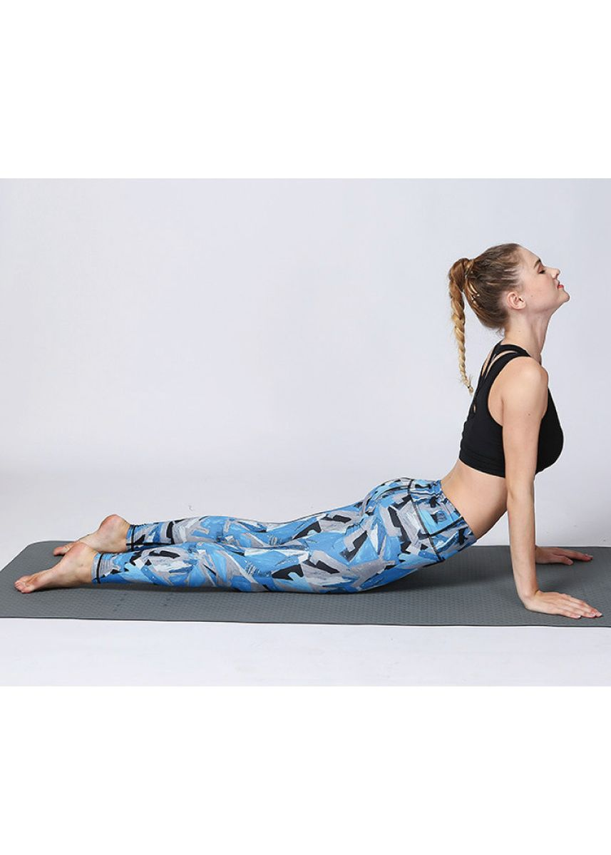 Blue color Sports Wear . Ladies Camouflage Geometric Pattern Dance Yoga Fitness Tights -